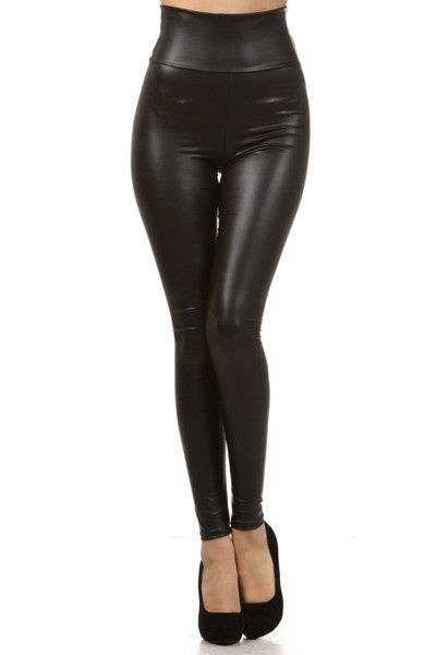 Black high waisted leggings made from polyester with a leather look a like sheen. Will fit tightly for a snug figure hugging fit. A very versatile must buy!