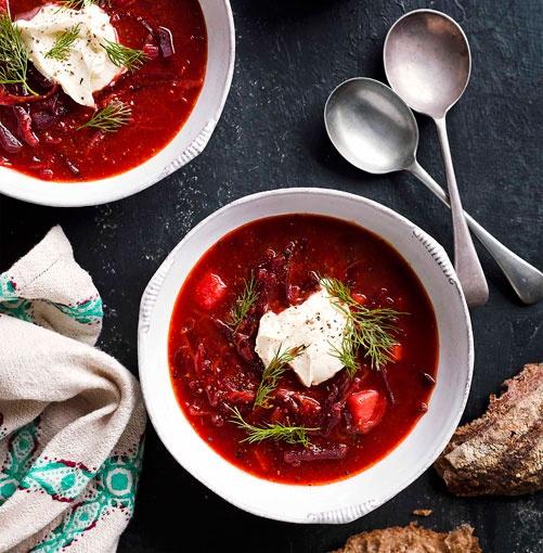 Borscht! Love Ukrainian food! Beet soup! Yummmm