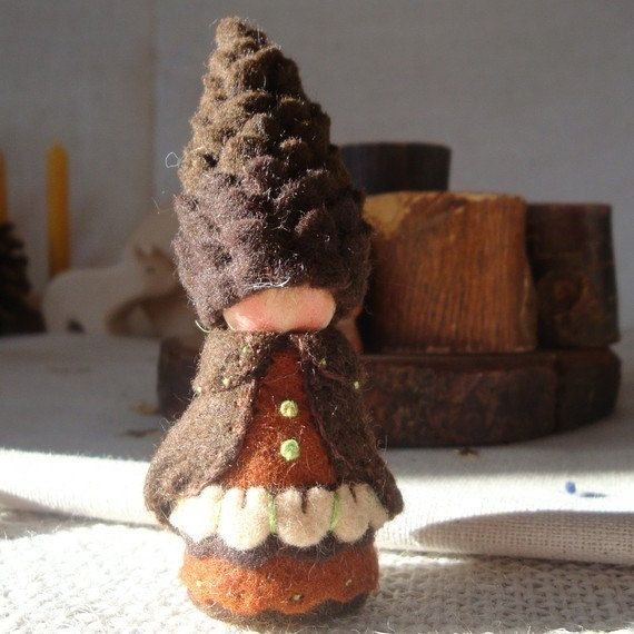 Tall Pine Cone Gnome Waldorf Storytelling Natural dollhouse doll Beskow. $26.00, via Etsy.