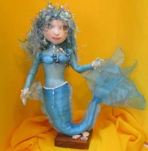 Mermaid, handmade cloth doll,  SOLD