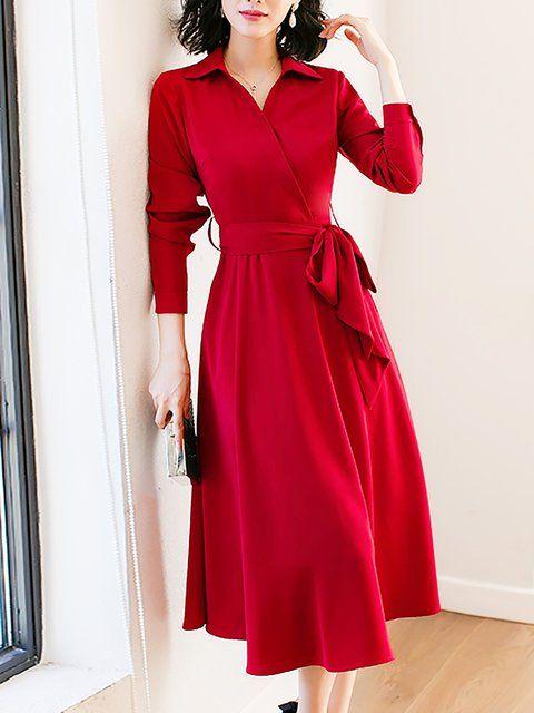 62c7593e188 Online Shopping Stylewe Shirt Collar Red Midi Dress A-line Daytime Dress  Long Sleeve Work Solid Dress