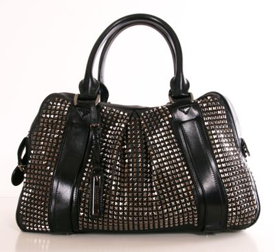 Prorsum Studded Leather Knight Satchel Tote from Burberry