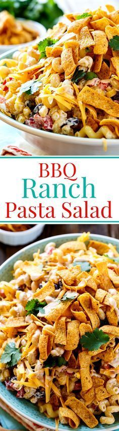 BBQ Ranch Pasta Salad with corn, chicken, black beans, crunchy corn chips  and