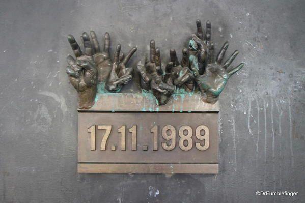 Prague, New Town. Velvet Revolution memorial