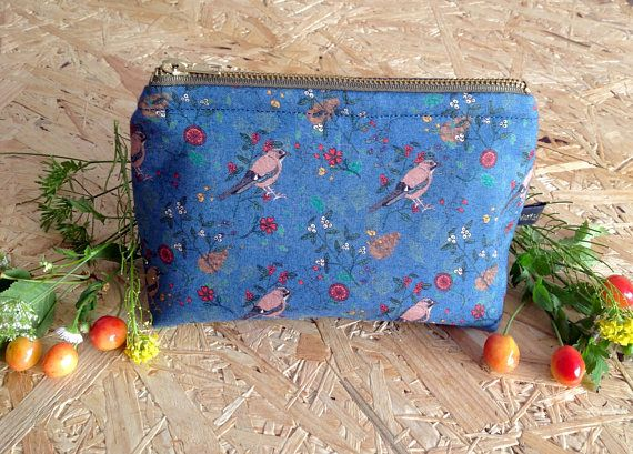 Handmade shy little Jay in blue small cosmetic bag