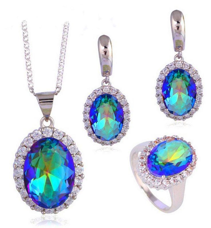 Mystic-Kristall  ( 925 Silber Set ) Ring, Ohrringe, Kette + Anhänger  | eBay