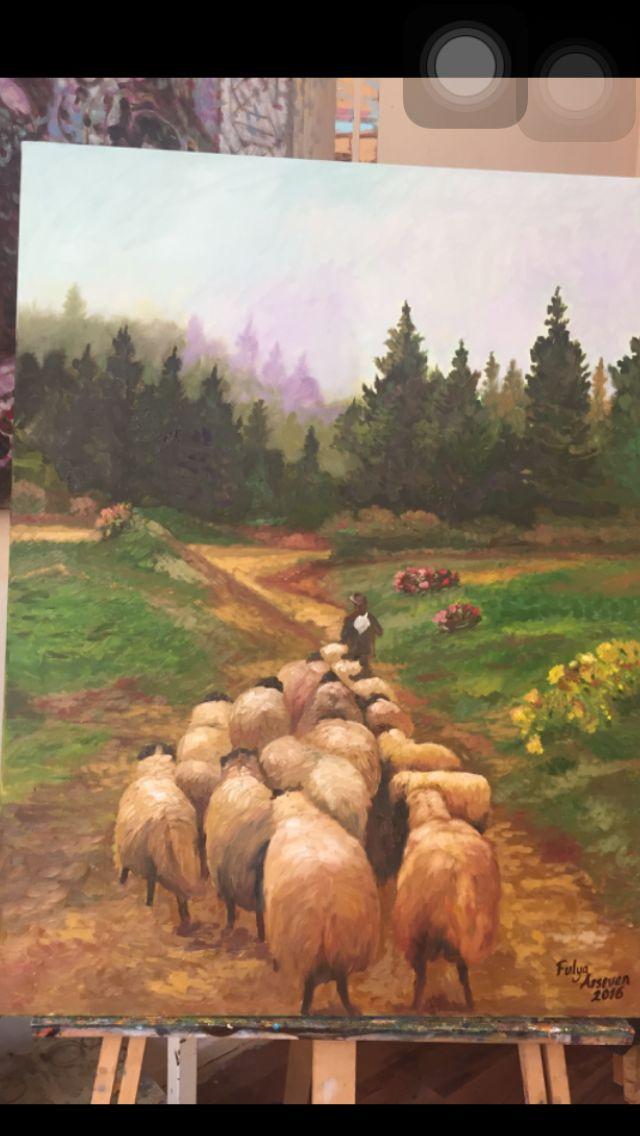 Köy yolu tablo Sanat art artist yağlıboya