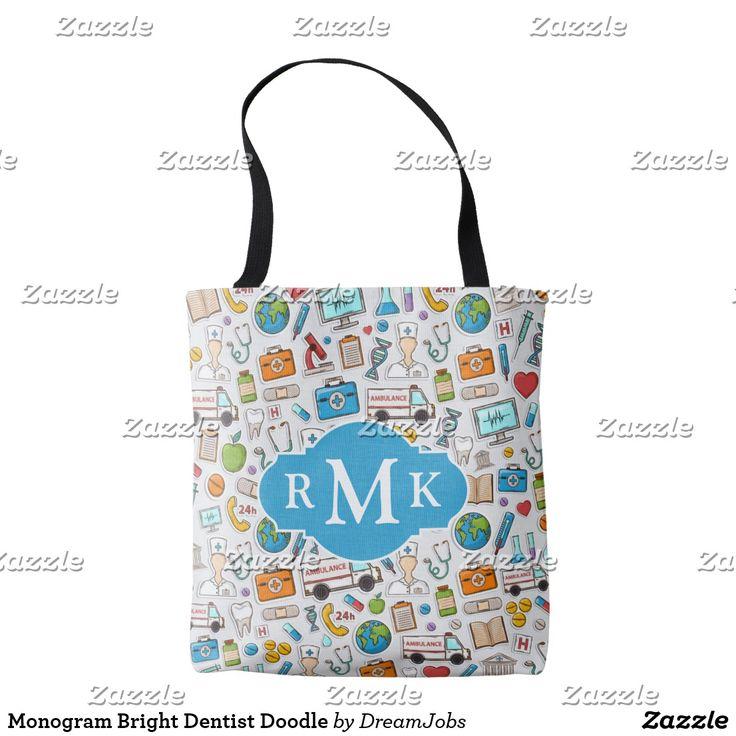 Monogram Bright Dentist Doodle. Producto disponible en tienda Zazzle. Accesorios, moda. Product available in Zazzle store. Fashion Accessories. Regalos, Gifts. #bolso #bag