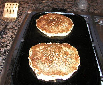 sourdough pancake recipe  I have an old Alskan cookbook that has this and the starter recipe. These are so good! If you make your pancake batter thick, they will cook up like english muffins!