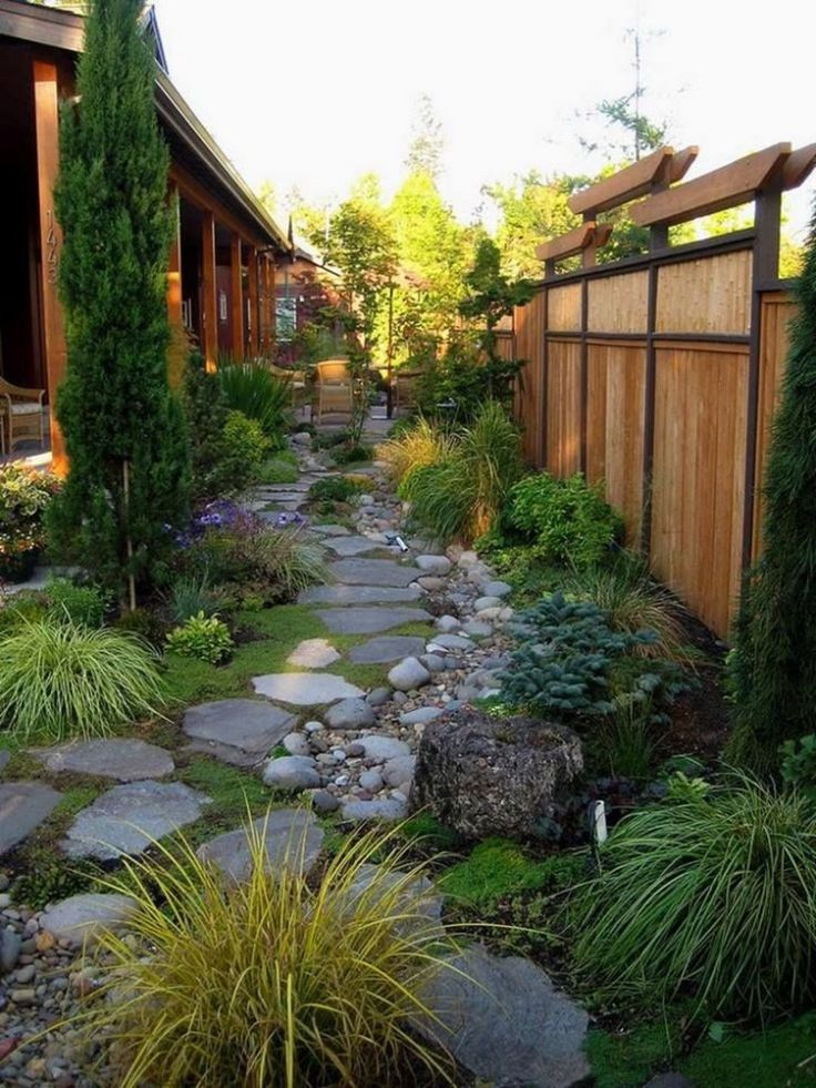 garden-paths. I Love This! Wonderful Zen Appeal: Bamboo Fence With Top Resembling a Torii, Beautiful Integration of Stones