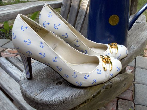 Size 8 Custom Hand Painted Nautical High Heel Shoes by TiltedShoes, $125.00