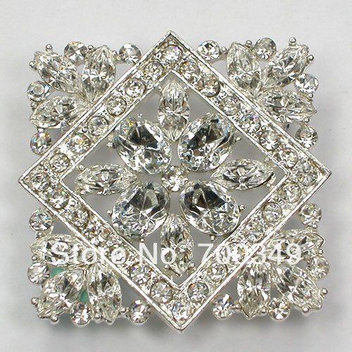 Посеребрение 12 piece/lot прозрачный кристалл горный хрусталь невесты свадьба ну вечеринку цветок булавка брошь C730 макияж-1