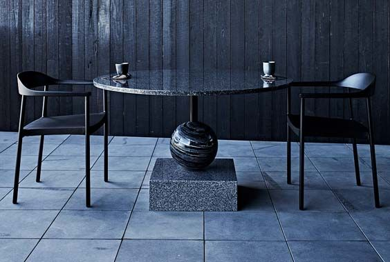 Zuster Custom Designed Solid Granite and Marble Table, Jackalope Hotel