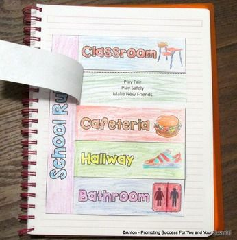 First Day of School Classroom Rules - Here is a great interactive notebook activity for students to learn school rules. It will be a great addition for your beginning of the year activities! Please see the preview and thumbnails to view the 5 sets of school rules outlined herein. There is also a template to create your own school rules.