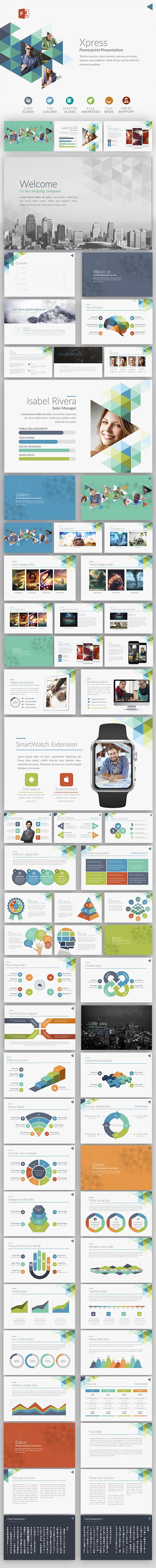 Xpress | Powerpoint template #1920x1080 #advertising #Campaign Pitch Brand #Chart Infographics #font awesome #mac presentation #$15