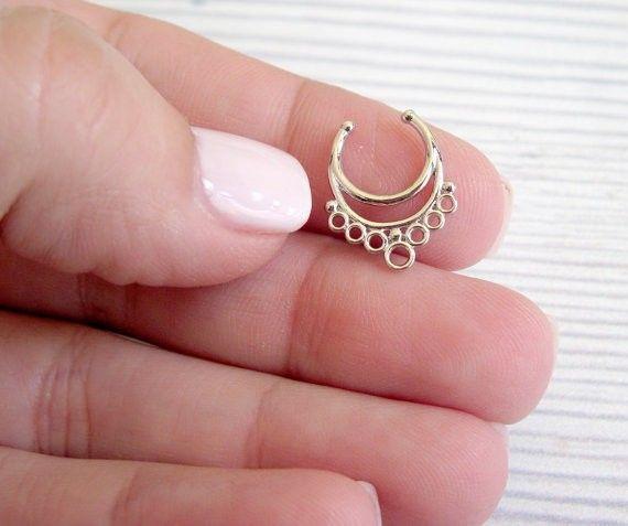 Mujeres falsas Septum Clicker nariz anillo joyería Piercing del cuerpo 1 unid envío gratis en Joyas para el Cuerpo de Joyería en AliExpress.com | Alibaba Group