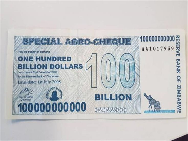Hyperinflation in Zimbabwe reduced the Zimbabwean dollar to one of the lowest valued currency units in the world. It was redenominated three times (2006, 2008, 2009), with denominations up to a $100 trillion dollar banknote