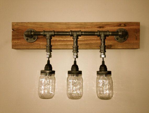 Mason jar bathroom light