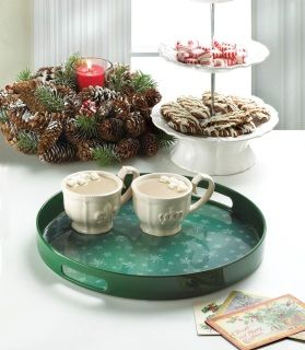 """by Christmas Collection Present your guests with a warm drink on a cold night by way of this charming snowflake tray. The deep green finish and the beautiful snowflake pattern on the inset will serve up plenty of holiday cheer. 12.9"""" x 12.9"""" x 1.5""""  allgooddecor.com  #allgooddecor #decor #candles #accents #figurines #furniture #gifts #decorations #lighting #mirrors #fountains #outdoor #toys"""