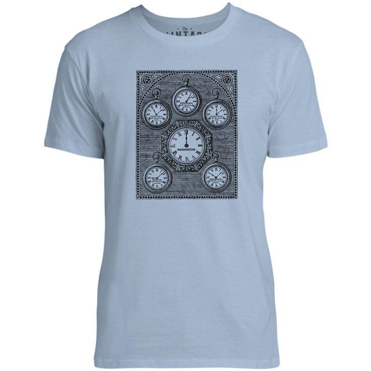 Mintage Antique International Clock Mens Fine Jersey T-Shirt (Azure)