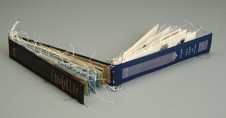 The Art of Being a Jew/How to Stop Worrying and Start Living by Lisa Kokin. Altered book, thread, 1.5 x 8.5 x 1 inches, 1999