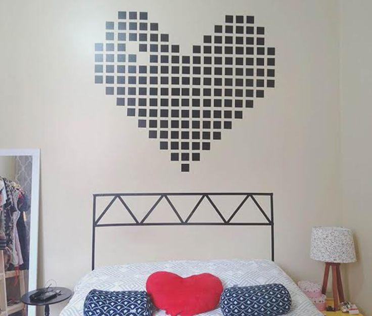 Lovely Washi Tape Headboard And Heart Wall. KopfteileStickerAbdeckband Selbstgemachte ...