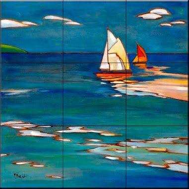 Tile Mural - Portofino Distant Sails - Kitchen Backsplash Ideas - Beach Style - Tile Murals - by The Tile Mural Store (USA)