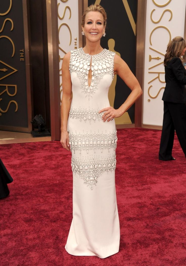Lara Spencer in KaufmanFranco? We like what we see! The morning host jazzed up her all-white column gown with a few glitzy details and a sexy key-hole neckline.