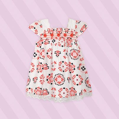 Pumpkin Patch Shirred Bodice Dress - 100% cotton, available in sizes 0-3m to 18-24m www.pumpkinpatchkids.com