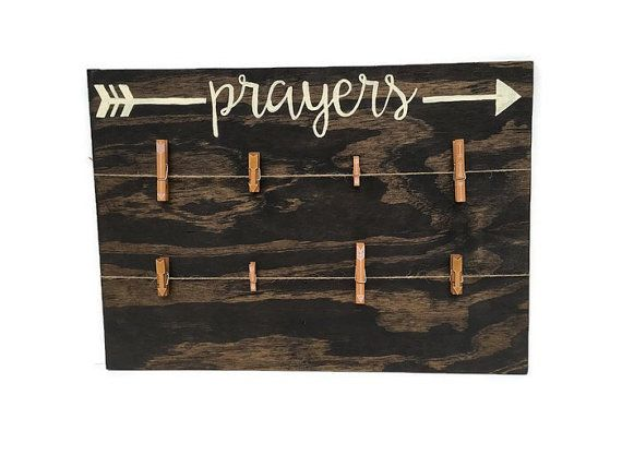 Prayer Wood Sign - Prayer Board - Prayer Request Sign with Arrow Clothespins…