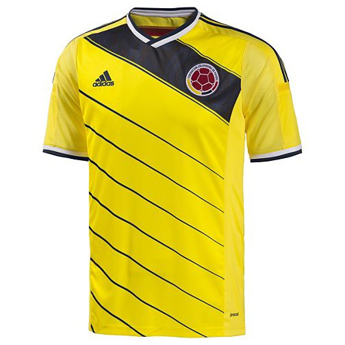adidas Colombia World Cup 2014 Soccer Jersey (Home): http://www.soccerevolution.com/store/products/ADI_40606_A.php