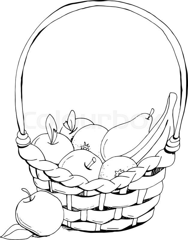 Stock vector of 'fruit basket: apple,  banana. Hand drawn, doodle, sketch vector design elements. Isolated on a white background.  Vector illustration'