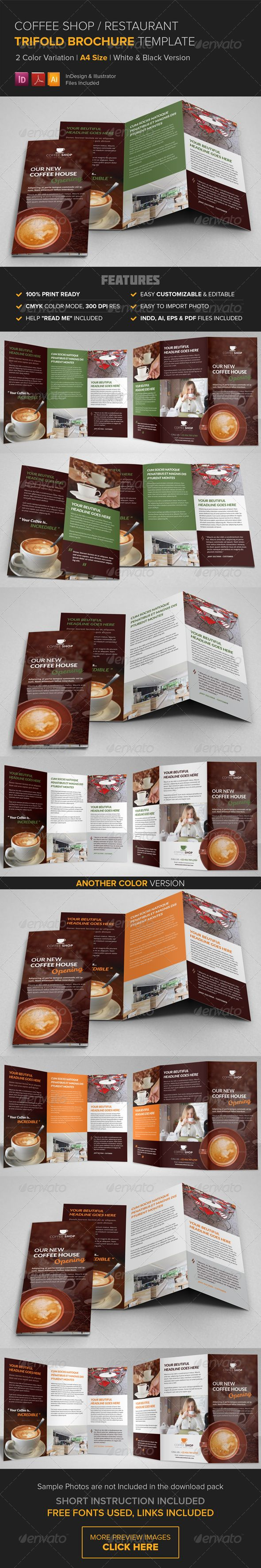 Coffee Shop Restaurant Trifold Brochure Template The