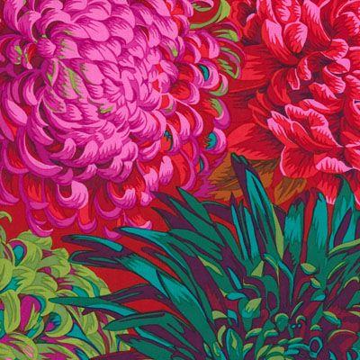 Philip Jacobs Fabric, Japanese Chrysanthemum Scarlet (per 1/4 metre)