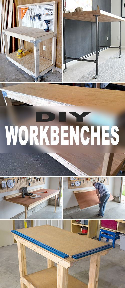 DIY Workbenches! • Try these DIY workbenches to make sure you always have a place to get all those DIY projects done! #DIY #projects #tips #ideas #tutorials #homedecor #decorating #howto #decoratingyoursmallspace #build #workbench #workshop #garage