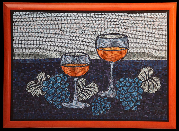 Wine table, paper mosaic collage from magazine pages, 50 X 70 cm, wooden orange frame