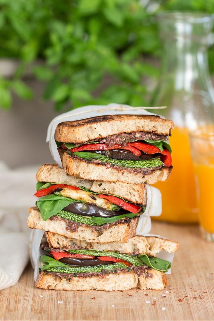 Mediterranean vegan sandwich stack: I can't do zucchini, so I'll sub something there, and of course I'll use gf bread.