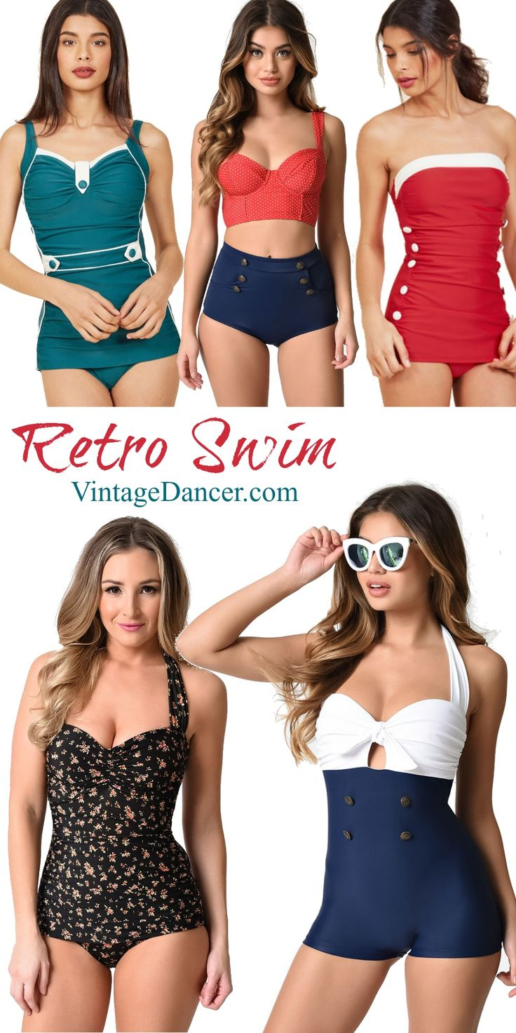 Retro swimsuits, vintage style swimwear, pinup 1940s and 1950s bathing suits. One and two piece swimsuits you will love.