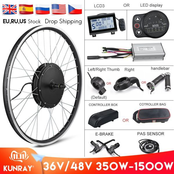 Ebike 48V 1000W 1500W E Bike Conversion kit Rear Wheel 26 29 inch 700C US Stock