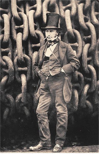 Isambard Kingdom Brunel by the launching chains of the 'Great Eastern' by Robert Howlett, 1857 (detail)