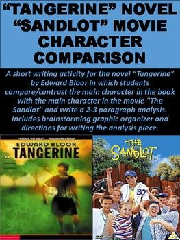 """A short writing activity for the novel """"Tangerine"""" by Edward Bloor in which students compare/contrast the main character in the book with the main character in the movie """"The Sandlot"""" and write a 2-3 paragraph analysis. Includes brainstorming graphic organizer"""
