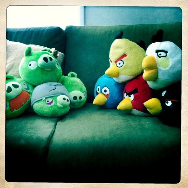 One couch for us, one couch for the Angry Birds.