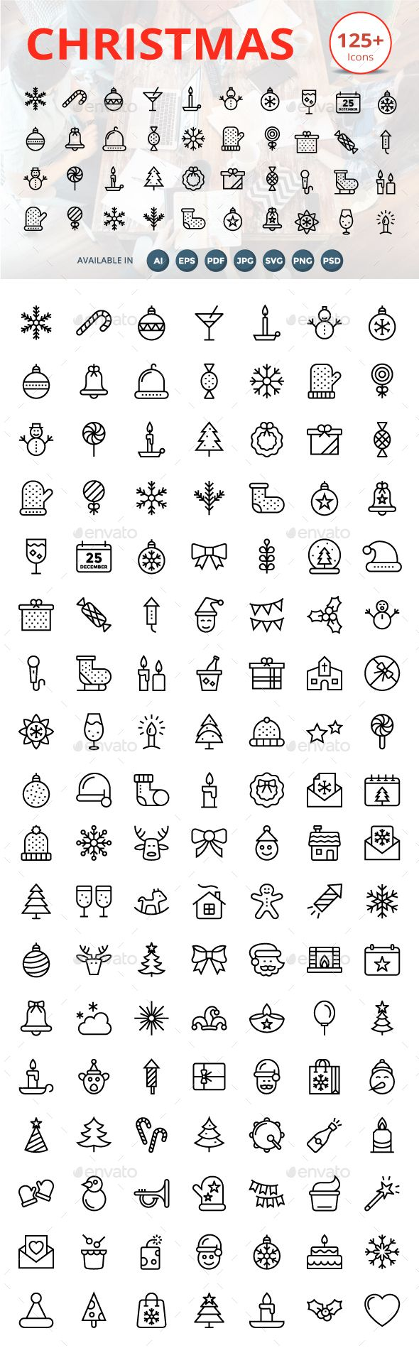 125 plus Christmas Line Icons