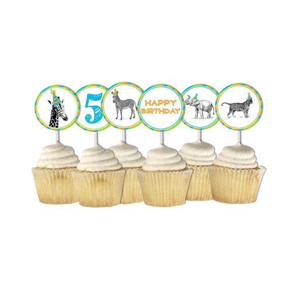 Party Animal Cupcake Toppers, Zoo Cupcake Toppers, Wild Animal Party, Giraffe…