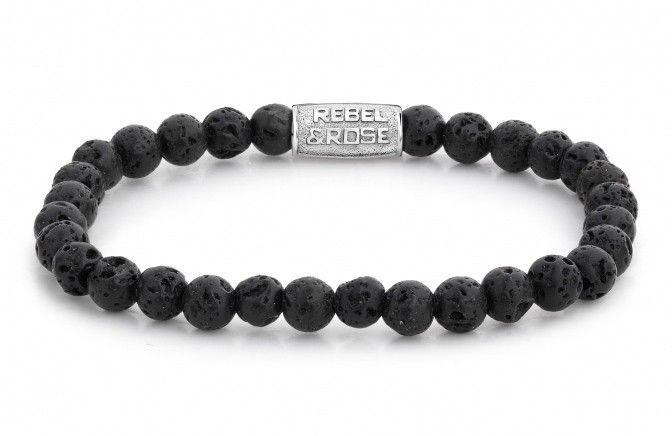 Rebel and Rose Armband Black Moon 16,5 cm RR-60031-S . Een mooie natuurstenen armband met een dikte van 6 mm en een lengte van 16,5 cm. Deze stoere en trendy rekarmband is in zwart lavasteen uitgevoerd. De armband is voorzien van een extra bead met het logo van Rebel & Rose. Rebel & Rose armbanden worden vervaardigd uit natuurlijke materialen en onderverdeeld in meerdere collecties zoals 'Stones Only', 'More Balls Than Most', 'Lion Head', 'Absolutely Leather' en de 'Sterling Silver Line'.