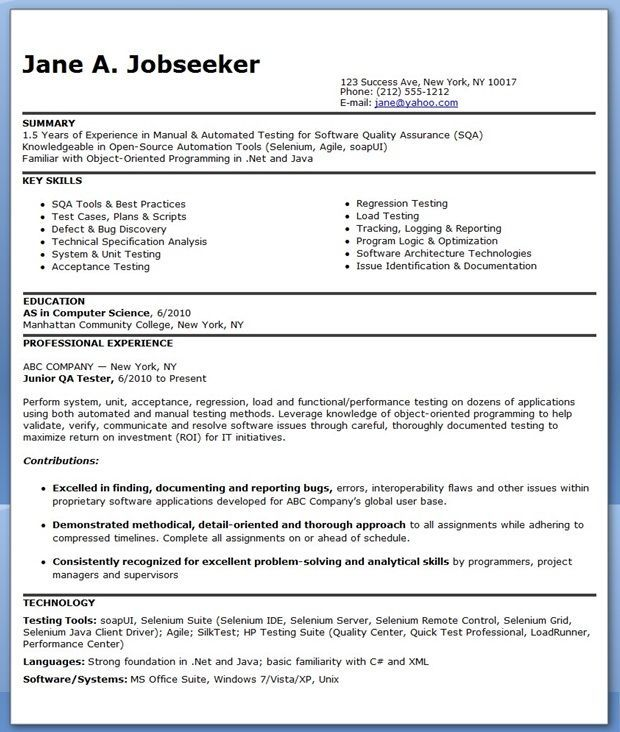 Qa Software Tester Resume Sample Entry Level Good Resume Examples Resume Software Resume Examples