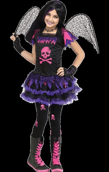 child pink punk fairy costume fairy costumeshalloween costumespink skull jokersfairies - Joker Halloween Costume Kids