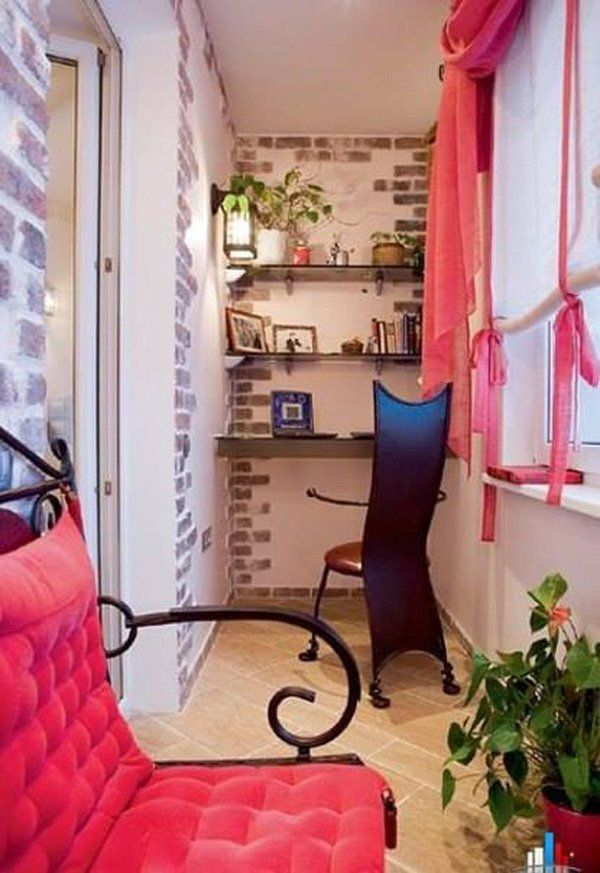 Decorate your apartment balcony in elegant pink. The white and gray brick walls give great contrast to the sharp colored furniture and the shelves perfectly fit the walls for the books and photo frames.