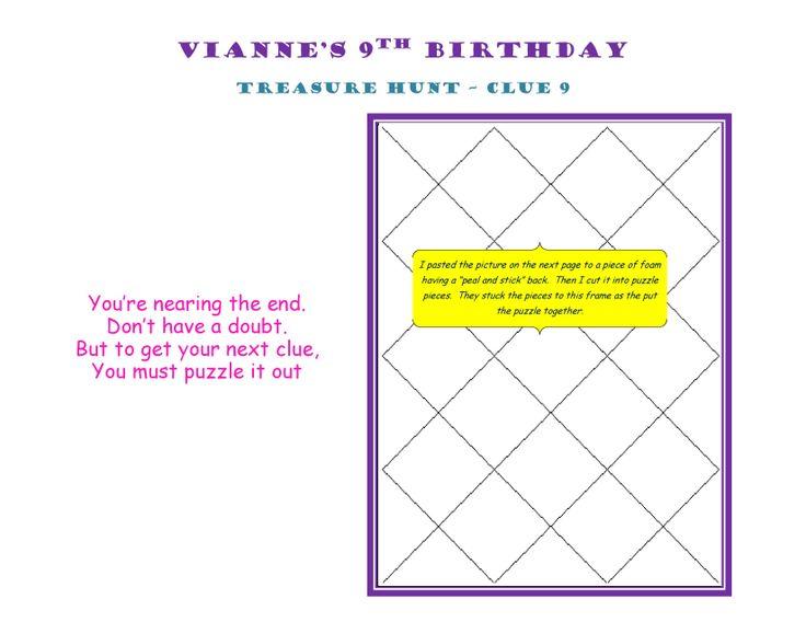 Birthday Treasure Hunt Clue 9a #Treasure #Hunt #Treasurehunt #Clue09a