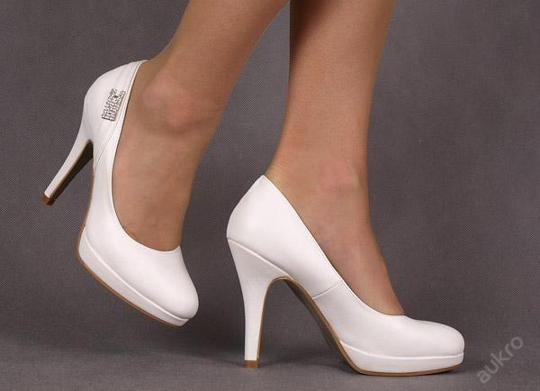 Svatební boty lodičky white bílé R39 [5029]